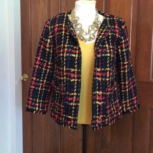 A New Day cropped tweed jacket blazer plaid  Sz S